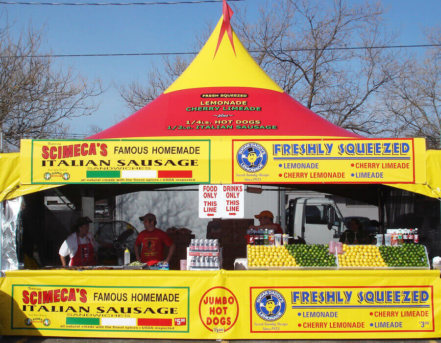Marquee event tent in custom color with printing