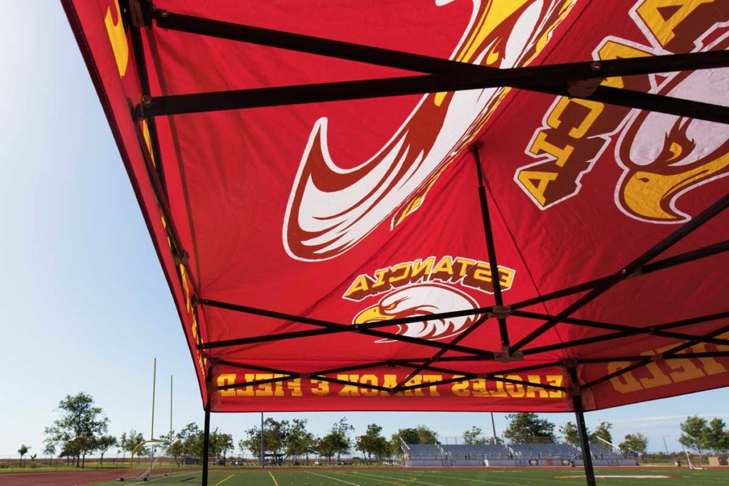 track and field tent interior