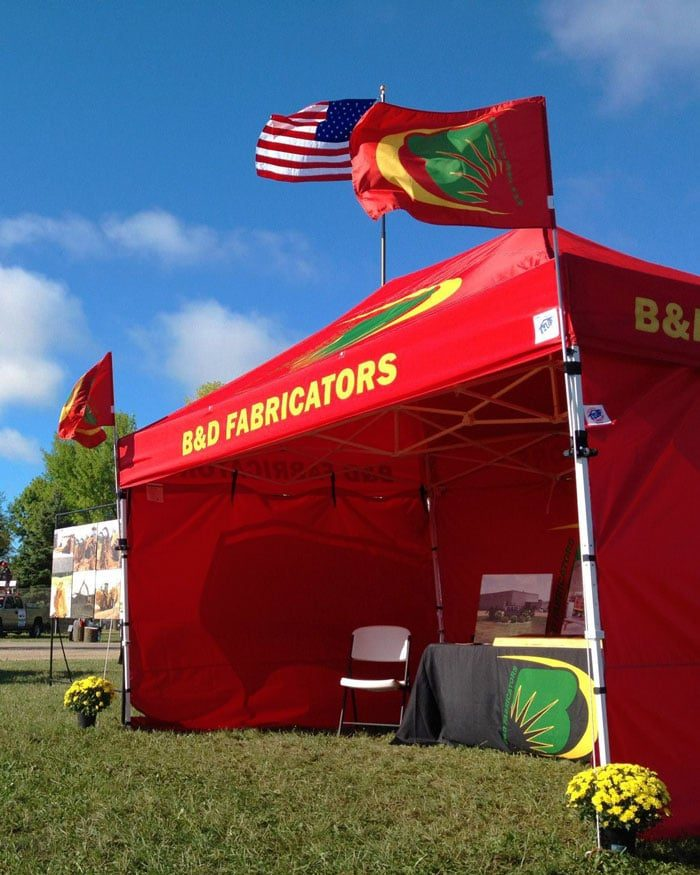 Custom flags on 10x15 E-Z Up Tent